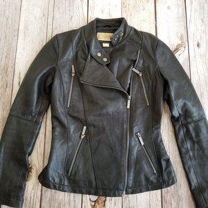 Michael Kors Leather Moto Jacket Womens XS Black